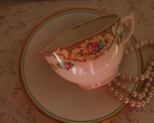 Vintage Gorgeous China Tea Cup and Saucer, Time for Tea, Cottage Chic, Dainty Elegant Tea Cup for Bridal Party((F237)