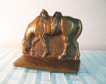 Brass Quarterhorse Cowboy Bookend Horse