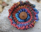Multi-Colored Knitted Flower Brooch-Pin-Vintage Button-Hand Knit