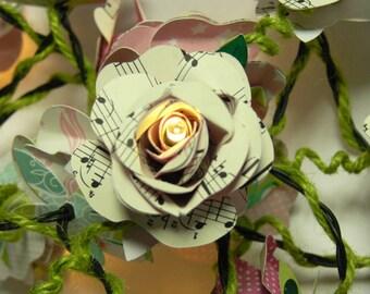 Book rose fairy lights Sheet music fairy lights