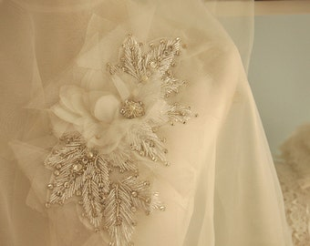 Bridal rhinestone applique with organza chiffon flowers