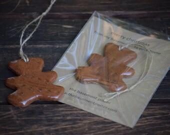 stoneware christmas ornament - teddy bear