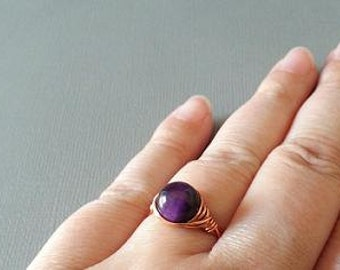 Tiger Eye Ring, Purple Stone Ring, Copper Ring, Wire Wrapped Ring, Purple Tiger Eye Ring, Wire Wrapped Ring, Unique Ring, Cute Ring