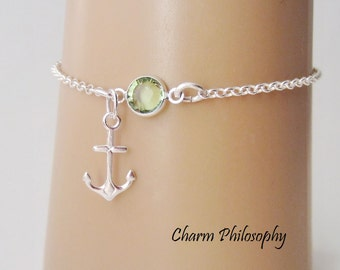 Anchor Bracelet or Anklet - Personalized Birthstone Bracelet - 925 Sterling Silver - Rolo Chain - Dainty Minimalist Bracelet