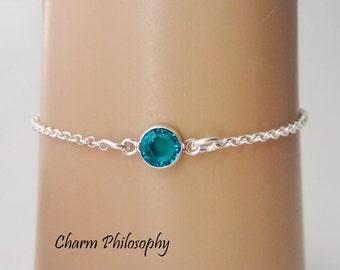 December Birthstone Bracelet - Swarovski Zircon Birthstone Anklet - 925 Sterling Silver - Dainty Minimalist Bracelet