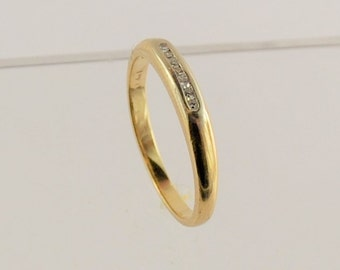 Tiny Diamond Wedding Band - 0.07 Carat TW - 14 Karat Yellow Gold
