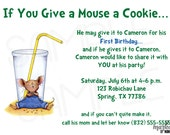 If You Give a Mouse a Cookie Custom You Print Digital Invitation, Printable, Birthday, Baby Shower, Invite, DIY,