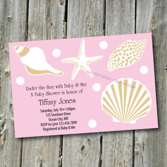 under the sea shells baby shower invitation you by loveyourdesign