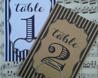 Classic striped wedding table number cards