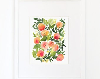 Peach Harvest - Watercolor Art Print