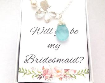 Aqua Blue Silver Necklace-Will you be my bridesmaid-Wedding Bridesmaid