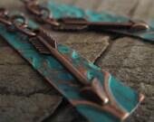 The Cobre Flecha Earrings, Arrow Earrings, Turquoise Earrings, Copper Earrings