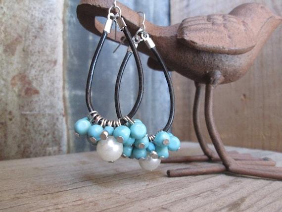 Beaded Earrings, Turquoise Earrings, Leather Earrings, Leather Beaded Earrings, Chandelier Earrings, Earrings