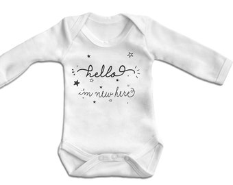 Hello I'm New Here Baby Bodysuit Long sleeve- Vest,Baby One Piece,Baby Clothes,Bodysuit, 100% Cotton - Screen Printed