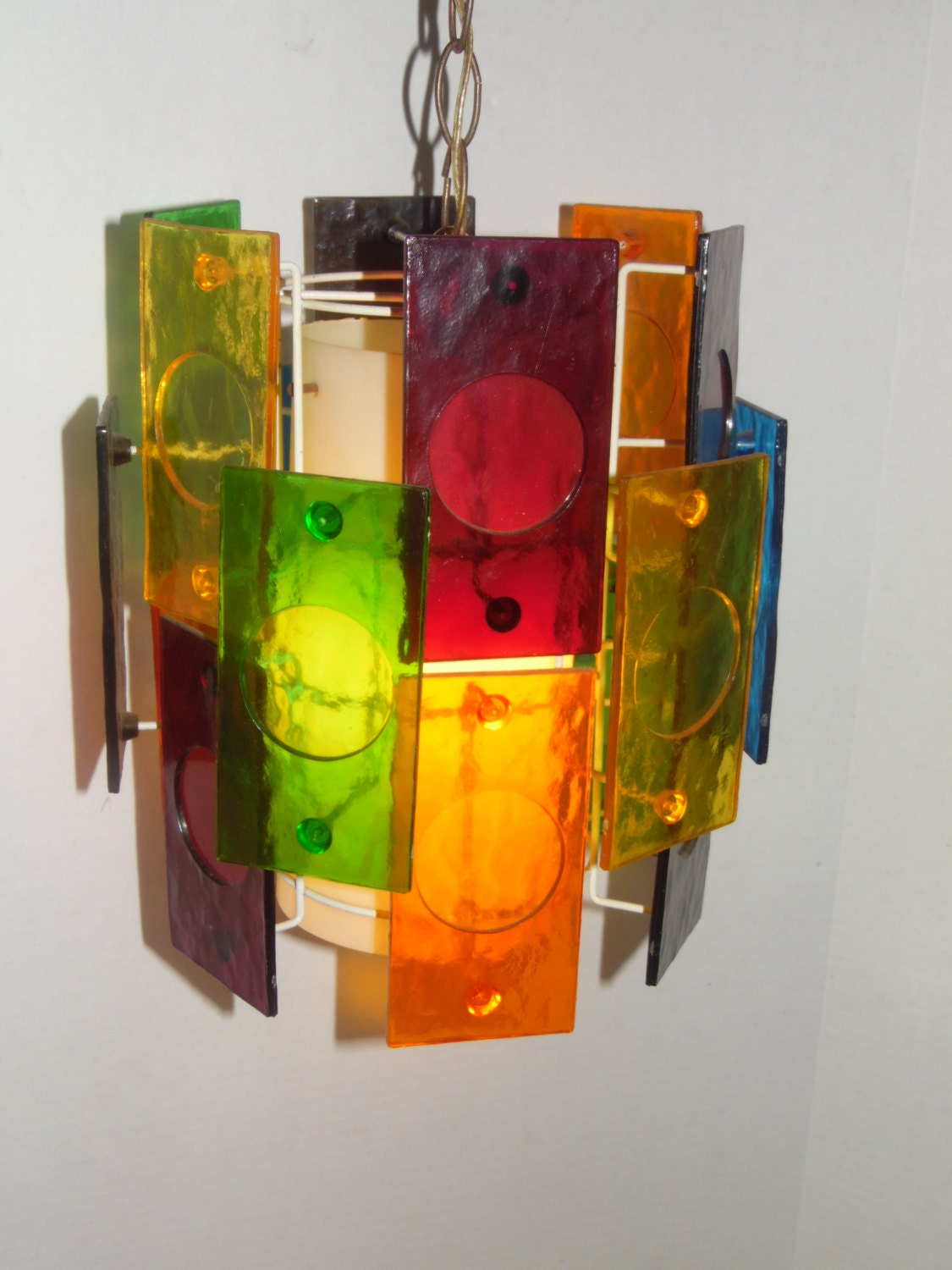 Sale Mid Century Multicolor Lucite Panel Hanging Swag Lamp