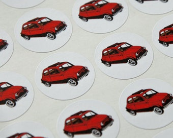Retro red Fiat 500 stickers
