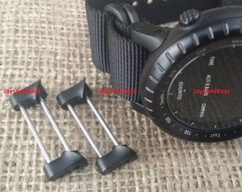 JaysAndKays® Fixed Lugs™ Adapters (Screwbar End) for Suunto Core to use NATO or Zulu Strap All Black Maroon 5-ring PVD