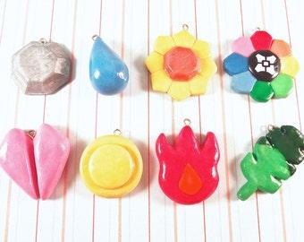 Polymer Clay Pokémon Gym Badges Charm Set