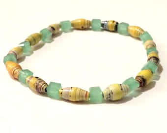 Yellow and green handmade Paper Bead Bracelet with square green beads. Handrolled magazine paper beads, stretch bracelet