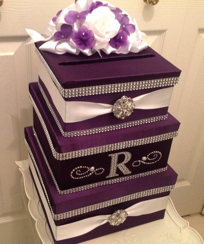 Wedding Card Box: Wedding Card Holder Card Box With Lock Purple Card Holder