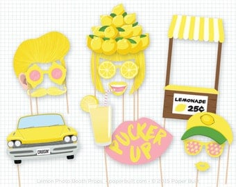 Lemonade Party Photo Booth Props, Photobooth Props, Summer Birthday Party, Summertime, Yellow Props, Lemonade Stand, Lemon, Summer Wedding