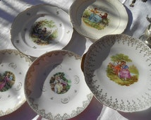 Fragonard Marie Antoinette Decor Pie Dish and 4 Plates French Porcelain Gilded Signed Fragonard Watteau Romantic Scene