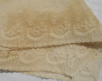 Victorian Collar Applique Floral Tulle Embroidered Supply French Off White Cotton Sewing Project #sophieladydeparis