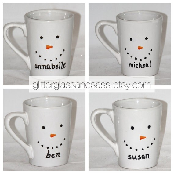 Personalized snowman mug set of 4 to 7 by glitterglassandsass for Unique christmas mugs