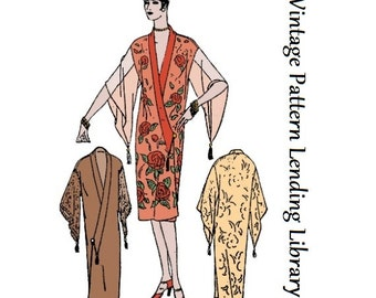 1920s Ladies Kimono Style Negligee - Reproduction Sewing Pattern #Z1178