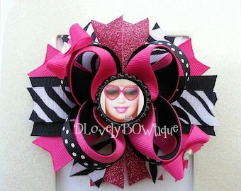 Barbie Inspired Boutique Layered Hair Bow -Barbie Inspired Birthday Hair Bow