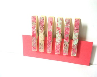 Decorative Clothespins--Pink and Blue Flowery (Jubilee Pink & Blue Ornate)