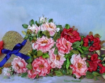 """Picture """" Roses """",  Silk ribbon embroidery, roses, ribbonwork"""