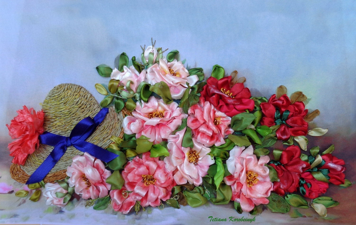 Ribbon embroidery embroidered roses hat d