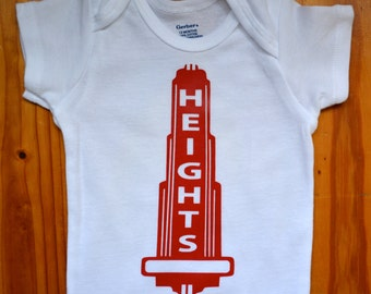 Houston Heights, Texas onesie, baby clothes, Cute handmade, girl, boy clothing, toddler shirt, baby shower gift -- By Eclectic Badger