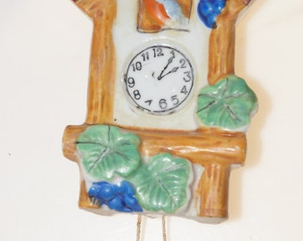 Japan Vintage Cuckoo Clock  Porcelain Wall Pocket 6""
