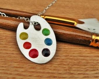Handmade Sterling Silver Artist Palette Necklace