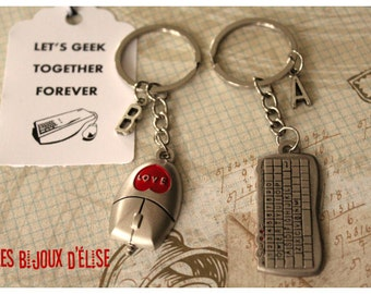 Sale - Set of 2 Mouse and Keyboard Keychains His and Hers Couple Keychains Best Friends Keychains Valentine's Keychains