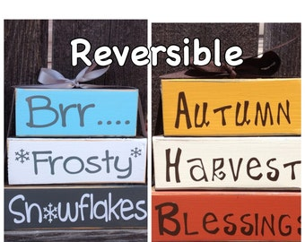 REVERSIBLE Autumn Harvest Blessings reverses with Brrr Frosty Snowflakes-wood blocks