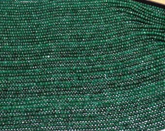 Beautiful AAA Quality Natural Emerald Micro Faceted Rondelles, 4 mm Approx. ,16 inch Strand, sold per strand, Wholesale price gemstone