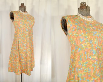Vintage 1960s Dress - 60s Mod Dress, Vintage Orange Dress, Small Mod Dress