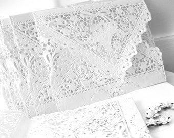 10 white Lace envelopes Elegant wedding invitation liners white vintage doily envelopes Qty 10 A7 or A9 or square envelopes custom
