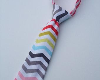 Boys Neck Tie, Infant Neck Tie, Multicolored Chevron Neck Tie, Toddler Neck Tie