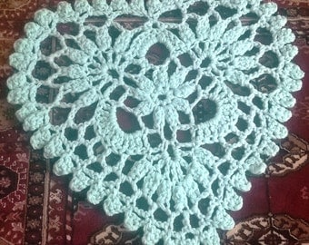Light green heart shaped valentine  crochet rug carpet