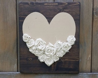Heart and Flowers hand painted sign