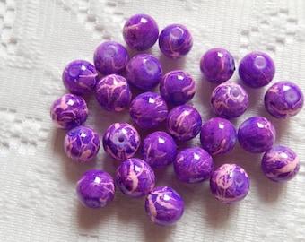 26  Violet Purple & Pink Bubblegum Opaque Round Glass Beads  8mm