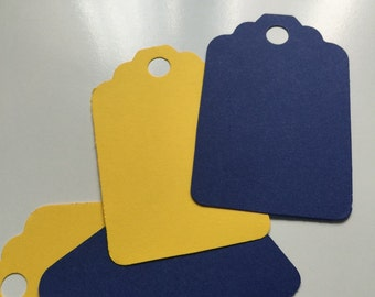 Set of 50 yellow and navy Tags, Favor Tags, Treat Bag Tags, Product Tags, Hang Tags, Wish Tree Tags, birthday tags,wedding tags ,thanks tags