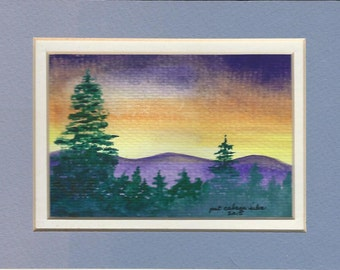 Purple Mountain watercolor painting - 3x5