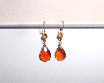 Amber glass pierced earrings handmade 1990s dangle earrings