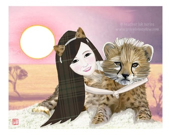 Cheetah - Limited Edition Illustration Drawing - Fine Art Print - Whimsical, Africa, Animal, Girl, Cute