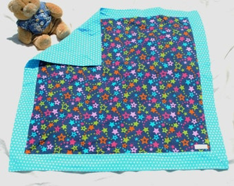 Multi-colored stars flannel baby blanket-Large